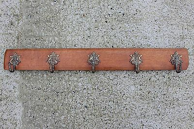 Large Antique Oak Wooden Coat Hat Wall Rack with 5 Brass Angel Hooks