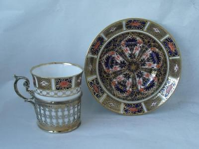 Very Pretty Crown Derby & Sterling Silver Coffee Cup & Saucer 1926