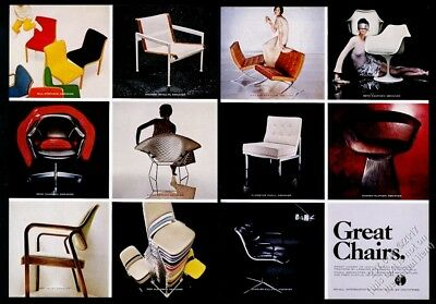 1968 Barcelona Chair Harry Bertoia Eero Saarinen etc photo Knoll print ad