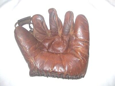 Nice, Very Old Signed & Numbered 5 Finger, Less Stitching Leather Baseball Glove