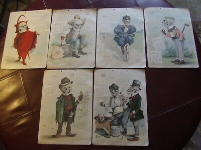 (6) Antikamnia Calenders Complete yr for 1898. SKELETON theme on EACH. nice set