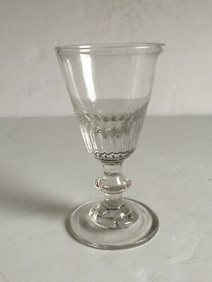 Antique Early American Pattern Mold Glass Wine Button Knop Stem Pontil 19thC