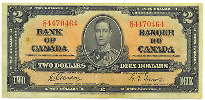 Bank of Canada 1937 $2 Two Dollars Gordon-Towers O/B Prefix VF++ Staple Holes