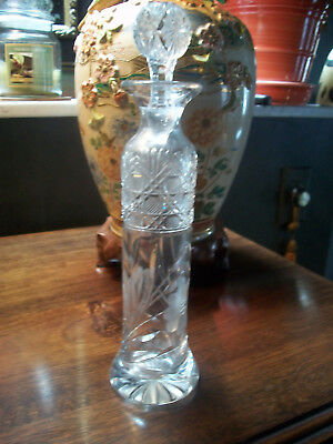 """Vintage Old  9"""" Crystal Perfume Bottle Decanter Etched Flowers & Cut Glass"""