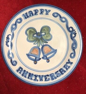 Large Vintage M.A. Hadley Happy Anniversary Cake Plate
