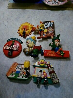 Vintage Refrigerator Magnets (lot of 7) Coca Cola; Lucky Charms; Cocoa Puffs etc