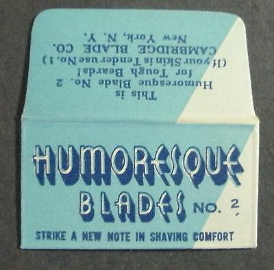 Vintage DE Made in USA Razor Blade HUMORESQUE One wrapped Blade