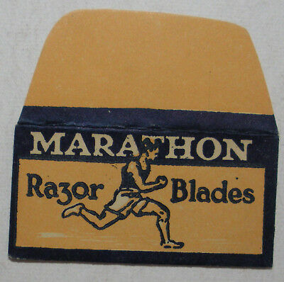 Vintage DE Made in USA Razor Blade MARATHON Old 3-Hole Style One wrapped Blade