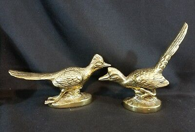 Pair of 2 Vintage Cast Brass Road Runner/Roadrunner Bird Sculpture Figure