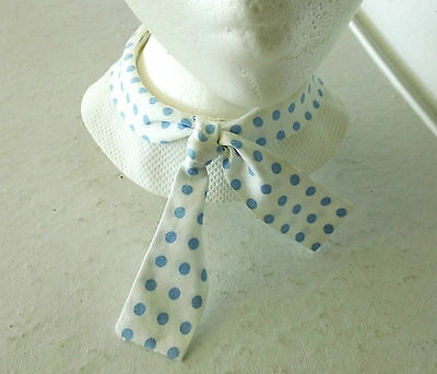 Vintage 1950s White with Light Blue Polka Dots Collar, Made by Coed Collars