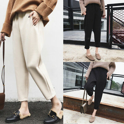 Women Fashion Wool Empire Waist Full Trousers Casual Career Harem Pocket Pants