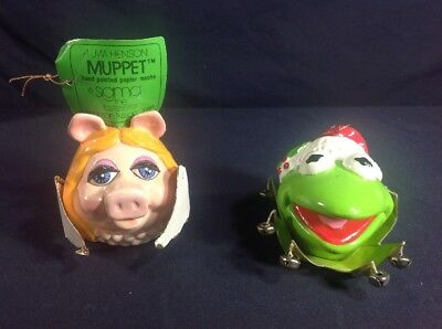 Vintage 1981 Sigma Jim Henson Muppet Head Ornaments Kermit The Frog Miss Piggy