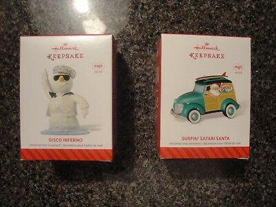 Hallmark Keepsake Magic Ornament Lot of 2 Disco Inferno & Surfin' Safari Santa
