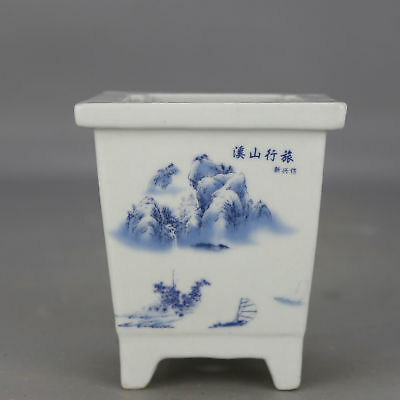 China old hand-carved porcelain Blue and white landscape pattern flowerpot H