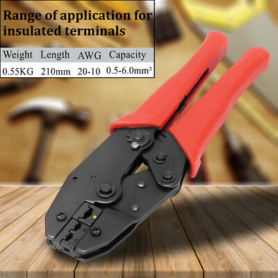 AWG22-10 Insulated Cable Wire Terminal Crimping Pliers Ratchet Crimper Tool Kit