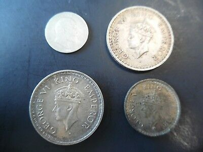 4 Diff  Silver Coins From India Beautiful
