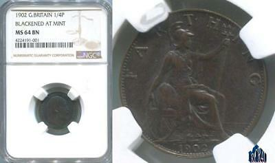 "1902 GREAT BRITAIN NGC MS64 BN ""BLACKENED AT MINT"" FARTHING 1/4P!  No ReSeRvE"