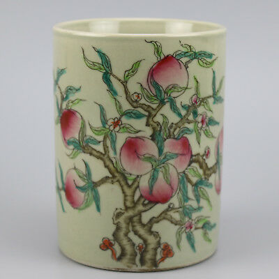 Chinese old hand-carved famille rose glaze porcelain peach pattern brush pot