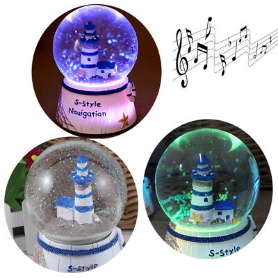 Christmas LED Light Musical Box Xmas Snow globe Tower Lighthouse Waterball Gifts