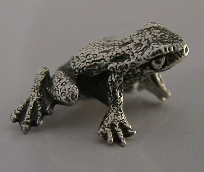Well Modelled English Sterling Silver Miniature Frog Animal Figure 1993