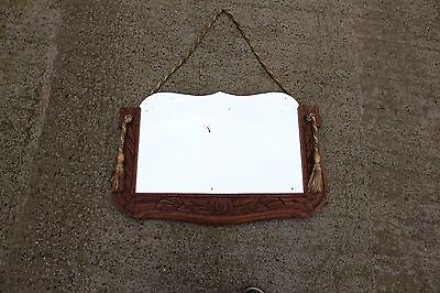 Beautiful Antique Mirror Cut Glass with Sculpted Carved Wooden Frame
