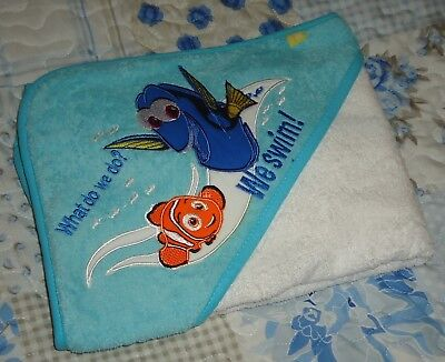 Mothercare Hooded Finding Nemo Embroidered Baby Bathtime Beach Cuddle Dry Towel