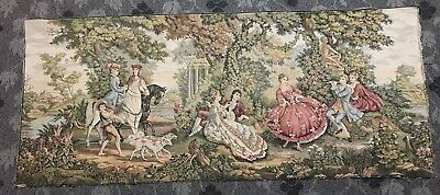 "Antique French Wall Hanging Tapestry - 26"" By 63"""
