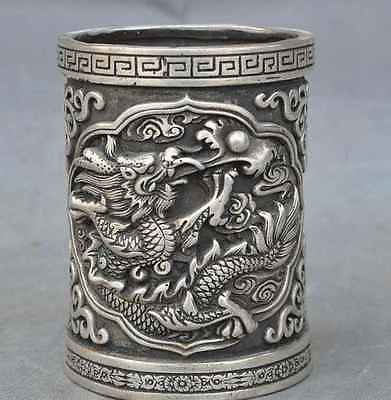 Old Chinese Silver Fengshui dragon play bead lucky Statue Brush Pot Pencil Vase