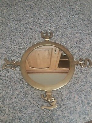Vintage Style Round  Mirror With   Brass Metal Frame 20,5cm
