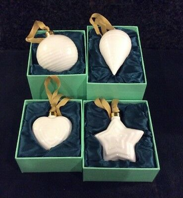 Sophie Conran Portmeirion 4 X Ceramic Christmas Decorations Set White Boxed New