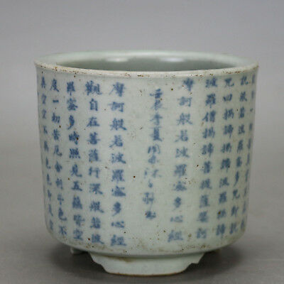 Chinese old hand-carved porcelain Blue & white  three foot flowerpot H