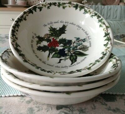 "Portmeirion Holly & Ivy 4 x 8"" Pasta Bowls New"
