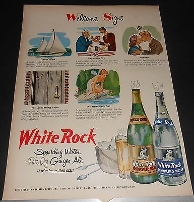 "1950 WHITE ROCK Girl/Psyche Fairy water/ginger ale 5 ""Welcome Signs"" Advert"