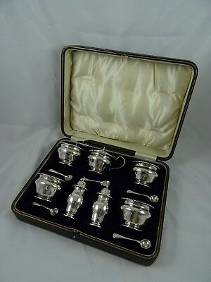 LARGE 12 piece solid silver DOUBLE CONDIMENT SET, 1918