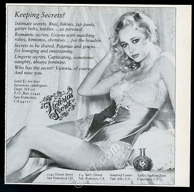 1980 Victoria's Secret lingerie woman in sexy teddy photo vintage print ad