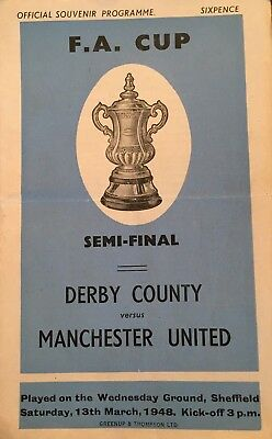 Derby County v Manchester United  F A Cup Semi Final at Hillsborough  1948