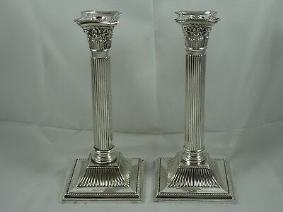 FINE pair solid silver CANDLESTICKS, 1904