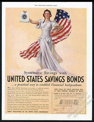 1937 U.S. Savings Bonds woman in white and American Flag art vintage print ad