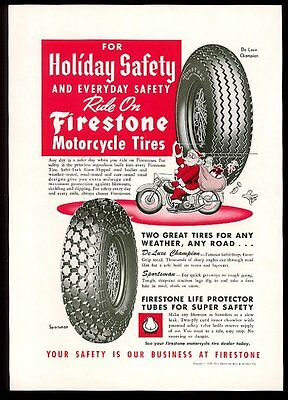1949 Firestone winter snow motorcycle tire Santa on motorcycle vintage print ad