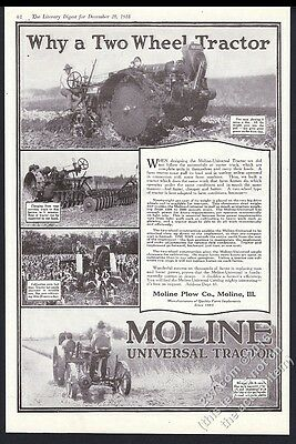 1918 Moline tractor farm farmer plowing 4 photo vintage print ad