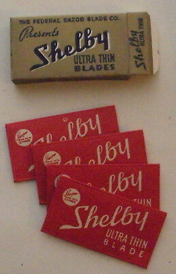 Vintage Made in USA Razor Blade SHELBY ULTRA THIN  Full Pack of 4