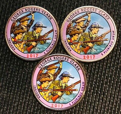 2017 P-D-S Colorized  George Rogers Clark (Indiana) Atb 3 Coin Quarter Set
