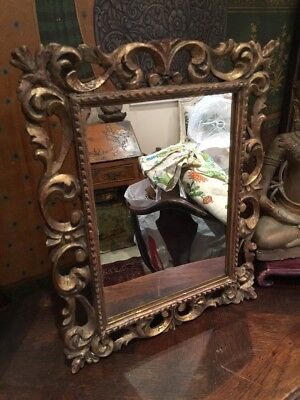 Small Antique Italian, Florentine Carved Gilt Wood Mirrror