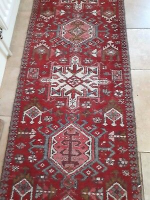Beautiful old runner rug, mainly dark red