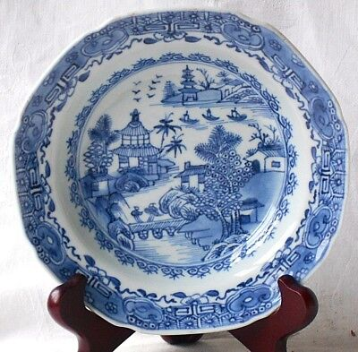 C18Th Chinese Blue And White Dish Temple Bridge Lake Pattern With A Border