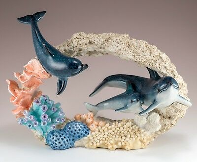 "Dolphin Family Swimming Through Coral Figurine 10.25""L Glossy Finish New In Box!"