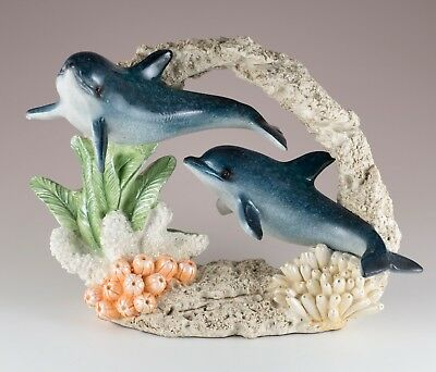 "Pair of Dolphins Swimming In Coral Figurine 7.75"" Long Glossy Finish New In Box!"