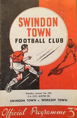 Swindon Town v Worksop Town  F A Cup  1955/56