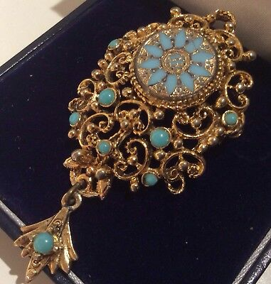 Vintage Signed Jewellery Gold Gilt Rococo Turquoise Inlay Bead Dropper Brooch