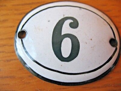 Original old vintage reclaim  Enamel house door gate number 6 or 9 either way up